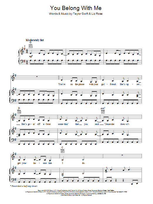 You belong with me piano version