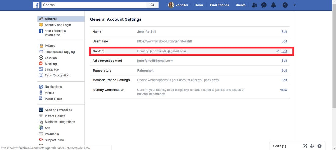Where to find email address on facebook