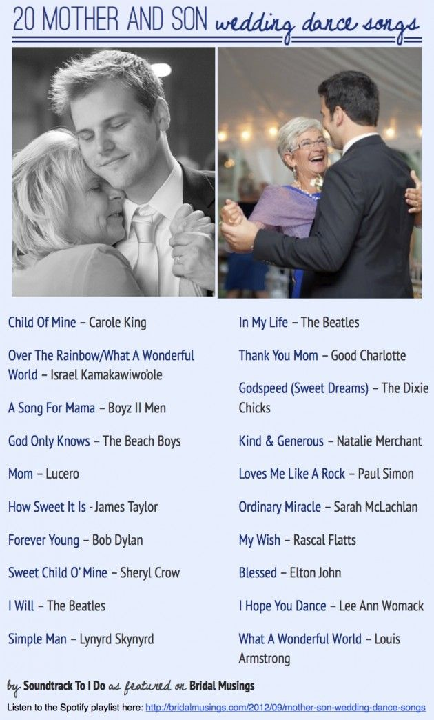 Most popular mother and son wedding dance songs